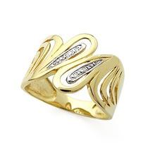 Lindo Anel Em Ouro Amarelo 18 Quilates+diamantes De 1 Ponto!