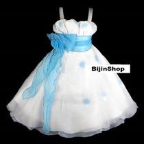 Vestido Infantil/festa Branco C/azul, Vermelho, Pink Ou Roxo