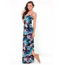 Roupas Femininas/ Vestido Longo Estampado Com Fendas Handara