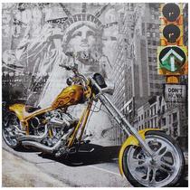 Tela Impressa Moto Amarela New York Fullway 60x60 Cm