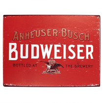 Placa Decorativa Budweiser Bottled At The Brewery Grande