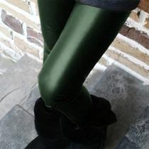 Legging Importada - Cirré - Brilhante - Imita P U - Verde