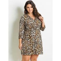 Vestido Plus Size Animal Print Onça Oncinha Gordinha Barato