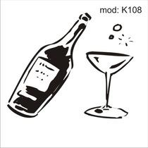 Adesivo K108 Garrafa De Vinho Taça Champanhe Bebida Chique