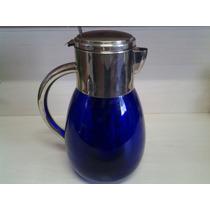 Refresqueira Em Vidrao Azul Cobalto Com Recipiente Para Gelo