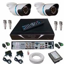 Câmera Monitoramento Kit 2 Câmeras Em Hd Infra E Dvr Hdmi