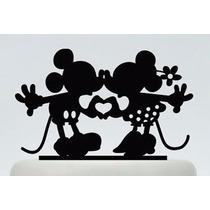 Topo De Bolo | Mickey E Minnie | Acrilico Preto