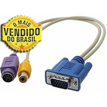 Cabo Adaptador - Vga Para S-video + Rca - Ligue O Pc Na Tv!