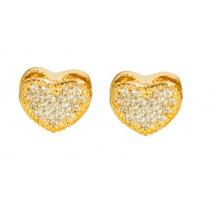 Brinco De Prata Lefine Coração Banhado Ouro 18k Zircônia