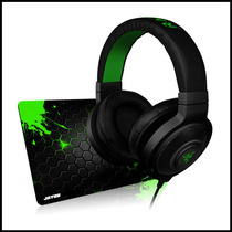 Fone Razer Kraken Black + Mousepad Jayob Splash Green