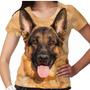 Camiseta Cachorro Pastor Alemão Capa Preta Feminina