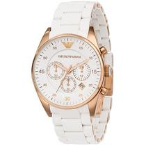 Relógio Emporio Armani - Ar5919 Rosê Gold E Branco Original