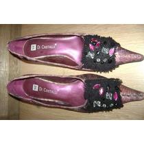 Sapato Fem, Roxo Com Pedras T. 34 Di Cristalli