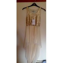 Vestido Importado Dourado Com Lantejolas