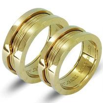 Par Aliança Anel - Bv -titânio Banhado Ouro 18k Filled