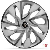 Calota Jogo Aro 15 Silver Ds4 Renault Clio Sandero Logan Kan