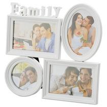 Porta Retratos, Quadro Family Branco Para 4 Fotos 3891