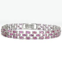 Belíssima Pulseira Bracelete Em Prata 925 Com Rubis Naturais