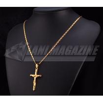 Colar Cordão Masculino C/ Pingente Crucifixo Banhada Ouro