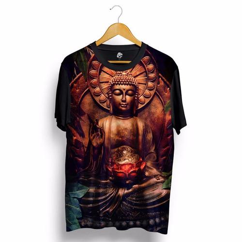 Camisa Blusa Buda Budah Buddha Marrom Budista Estampa Total