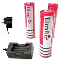 Kit Carregador Duplo + 10 Baterias Ultrafire 18650 -5800 Mah