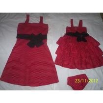 Vestido Festa Vermelho De Bolas Pretas Mae E Filha