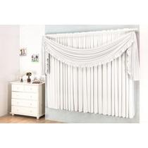 Cortina Para Sala Grace Branco 2,0m X 1,70m - Varão Simples