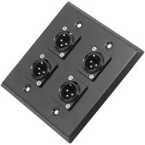 Placa De Parede Preto De Aço Inoxidável - 4 Conectores Xlr