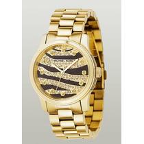 Relógio Michael Kors Mk5126 Mk Zebra Gold Original Completo