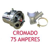Kit Alternador 75a Cromado + Ignição + Vela + Cabo Ngk Fusca