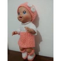Roupinha De Crochet Salmão Para Boneca Baby Alive E Parecida