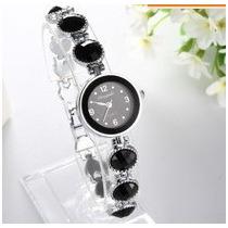 Relógio Feminino C/pedras Negras