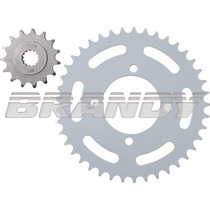 Kit Coroa/pinhão Brandy Shineray 50 Aço 1045 Com Nf