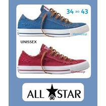 Tênis All Star Sneaker Azul Jeans Vermelho Sem Salto Rasgado