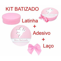 Lembrancinha Batizado Menina 10 Latinha 10 Adesivo 10 Laço