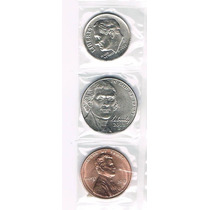 3 Moedas Dos Usa 2013 Lincoln, Jefferson, Roosevelt Fc