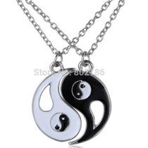 Símbolo Tribal Yin Yang Pingentes Com Colares Banhado Prata