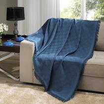Manta Para Sofá Dohler London 1,60x2,20m 100% Algodão Azul