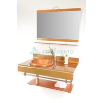 Gabinete De Vidro 90 Cm Banheiro Dourado