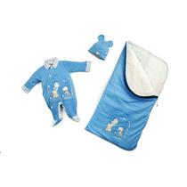 Saída Maternidade Suedine Girafa Azul Reve Dor - Rn