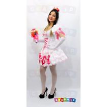 Vestido De Noiva Para Festa Junina + Luvas + Bouquet + Véu