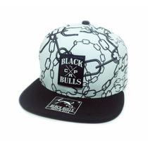 Boné Black Bulls Aba Reta Snapback Correntes Original Branco