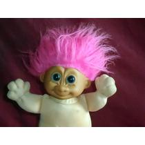 Boneco Antigo Gnomo Russ Com Cabelo Rosa Olhos Azuis