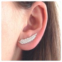 Brinco Em Prata Ear Cuff Folha Com Zircônias Prata 950
