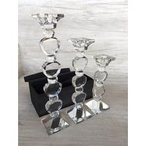 Kit Com 3 Candelabros Decorativos 100% Cristal Transparente