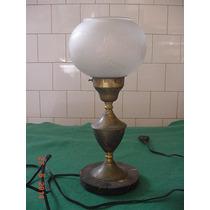 * Luminária Antiga De Mesa - Base Em Granito E Metal *