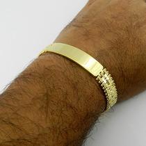 Pulseira Masculina 18cm 13mm Largura Folheada Ouro Pl275
