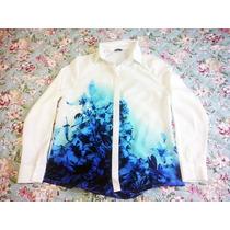 Camisa Feminina Offwhite - Estampa Degradê Flor-azul