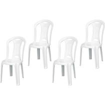 Conjunto Com 4 Cadeiras Plástica Tramontina Caravelas 120kg