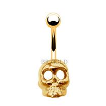 Piercing De Umbigo Com Caveira Folheado A Ouro + Caixinha